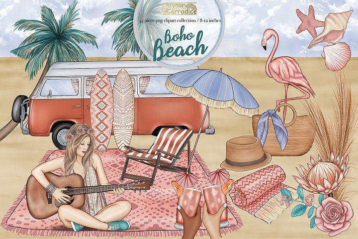 Boho beach - summer clipart collection