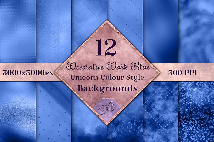 Decorative Dark Blue Unicorn Style Backgrounds Textures
