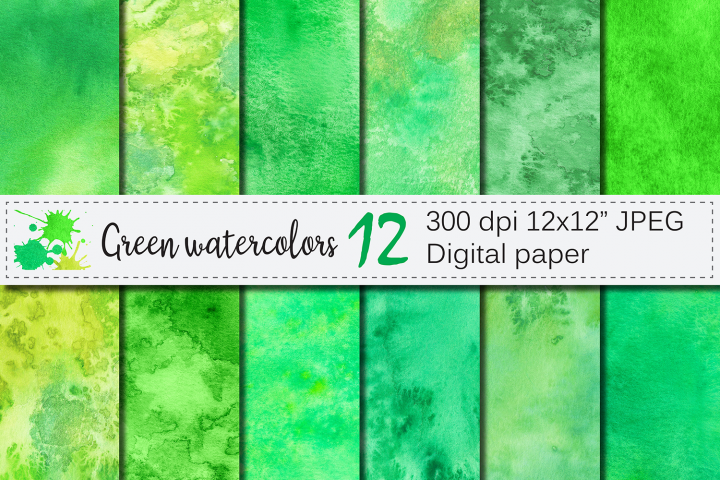 Green watercolor digital papers / textures /backgrounds