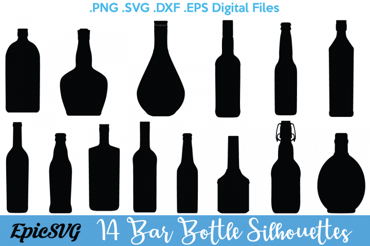 Bar Bottles Silhouette | .SVG .DXF | Clipart Vector Graphic Drinking Bottle Liquid Silhouette Cameo Cricut Digital Download 14 Files