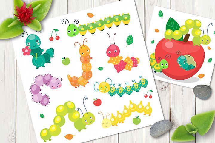 Cartoon caterpillar vector cute set