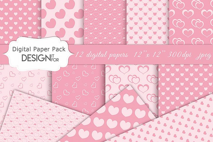 Pink Valentines Day digital paper pack, pink love, patterns