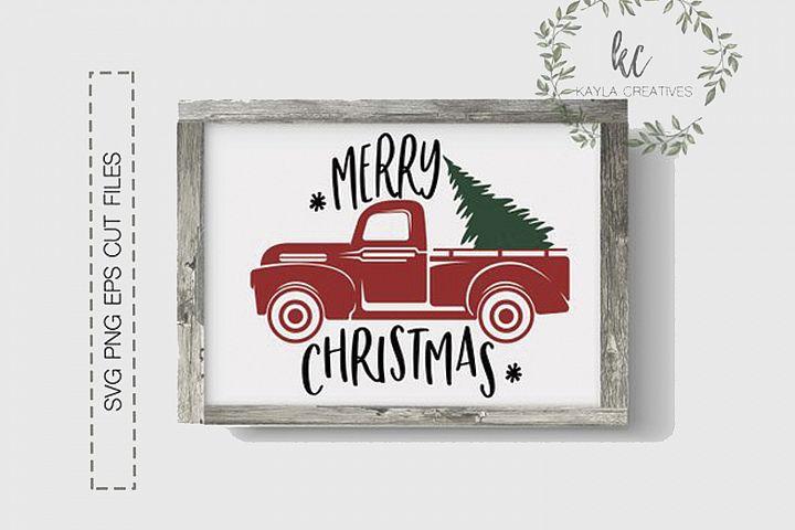 Merry Christmas SVG, Christmas Red Truck SVG, Christmas SVG