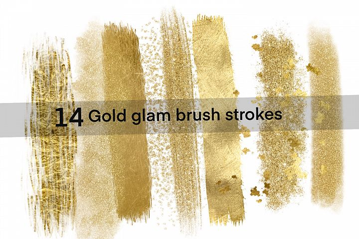 Gold glam brush strokes png clipart