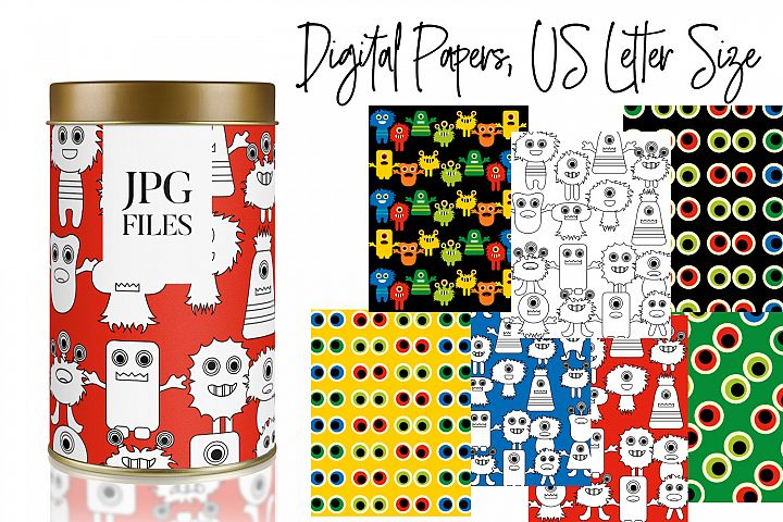 Monsters Patterns Background - Digital Papers