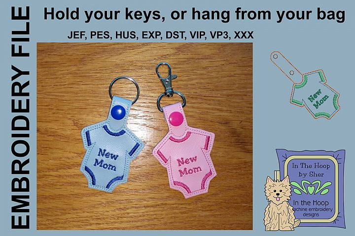 ITH New Mom Key Fob - Embroidery Design