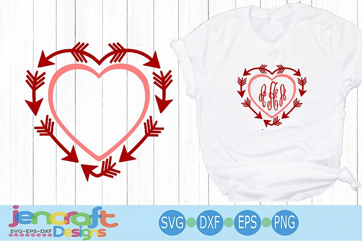 Valentine arrow Heart SVG - Arrow Valentine monogram SVG