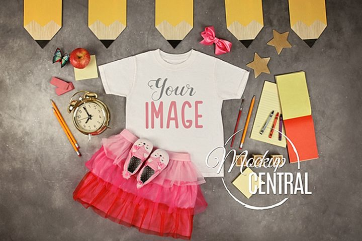 Girls T-Shirt School Mockup, Kindergarten Child Shirt JPG