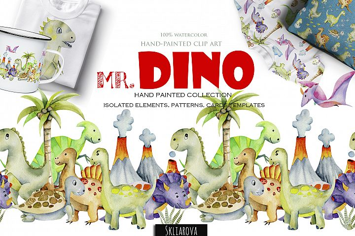 Mr.Dino. Watercolor clipart for kids