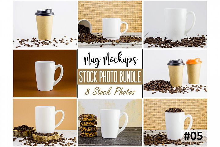 Mug mockup bundle 5, coffee cup, stock photo bundle