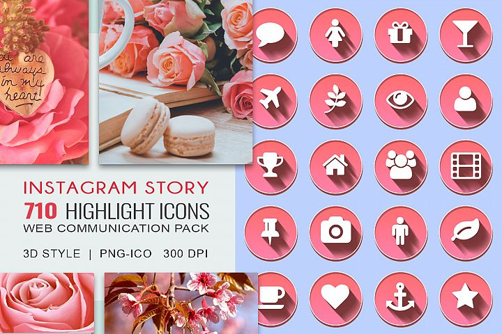 355 3D Instagram Story Highlight Icons Pack