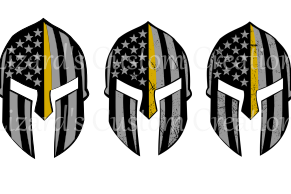 Gold Line Spartan Helmet with Distressed images