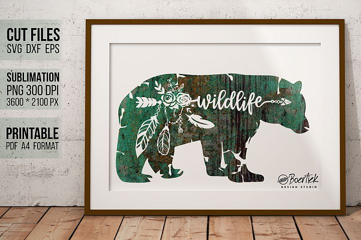 Bear wildlife, Sublimation and cut file