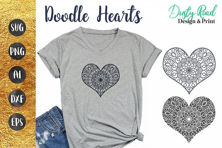 Doodle Hearts SVG Cut File