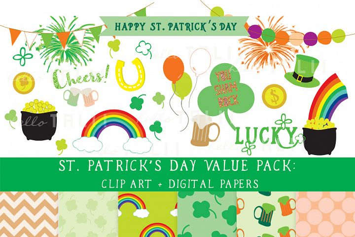 SALE! St Patricks Day Clipart and Digital Paper