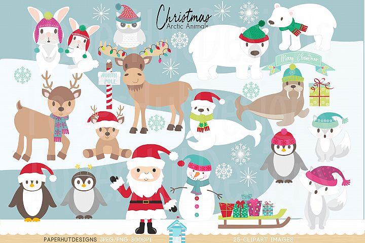 Christmas Arctic Animals Clipart