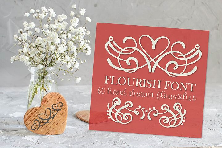 Flourish Font - 60 Hand Drawn Ornament Swooshes