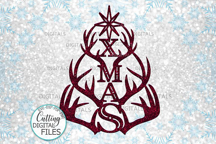 Christmas Tree Xmas with deer antlers laser cut out svg png