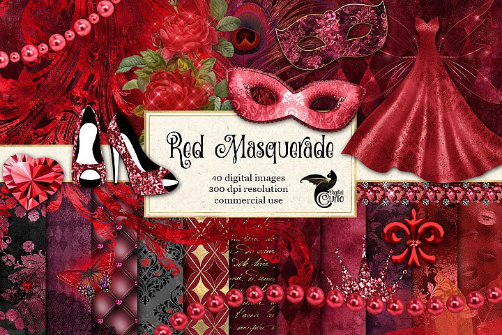 Red Masquerade Digital Scrapbooking Kit