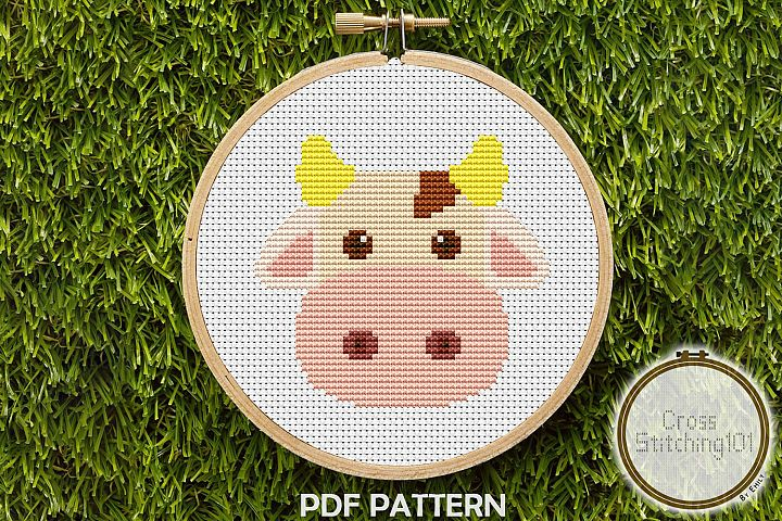 Brown Blanche Cow Cross Stitch Pattern -Instant Download PDF