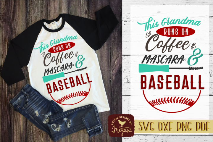 This Grandma Runs On Coffee Mascara & Baseball Sports Shirt