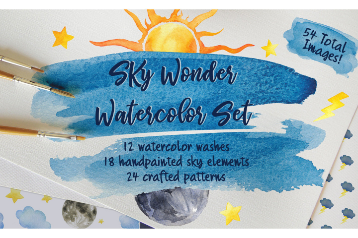 Sky Wonder, Watercolor Clip Art Set! Patterns, Backgrounds!