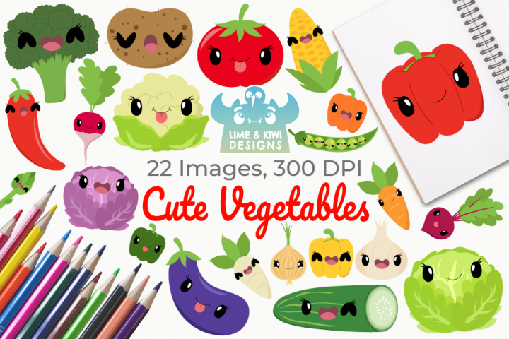 Cute Vegetables Clipart, Instant Download, Commercial Use