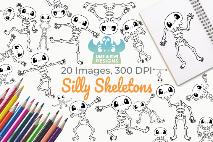 Silly Skeletons Digital Stamps