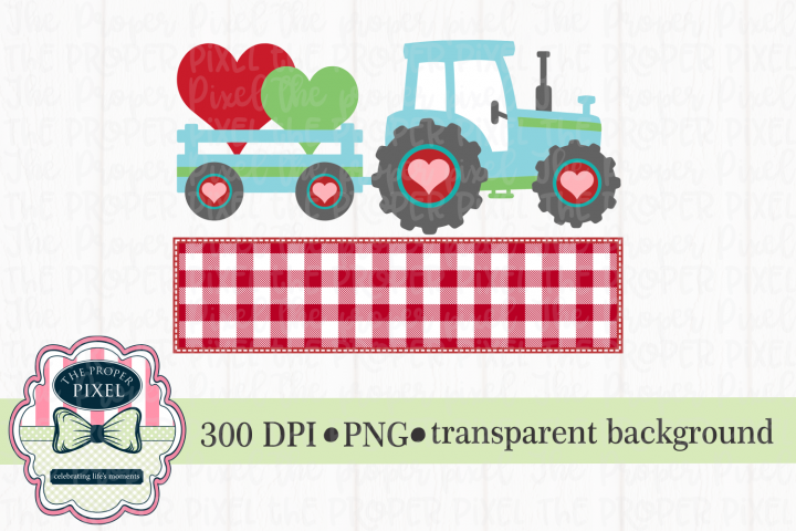 Tractor Valentine Design for boys, PNG sublimation download