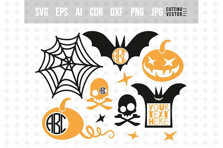 Halloween monogram SVG Bundle - svg, eps, ai, dxf, png, jpg