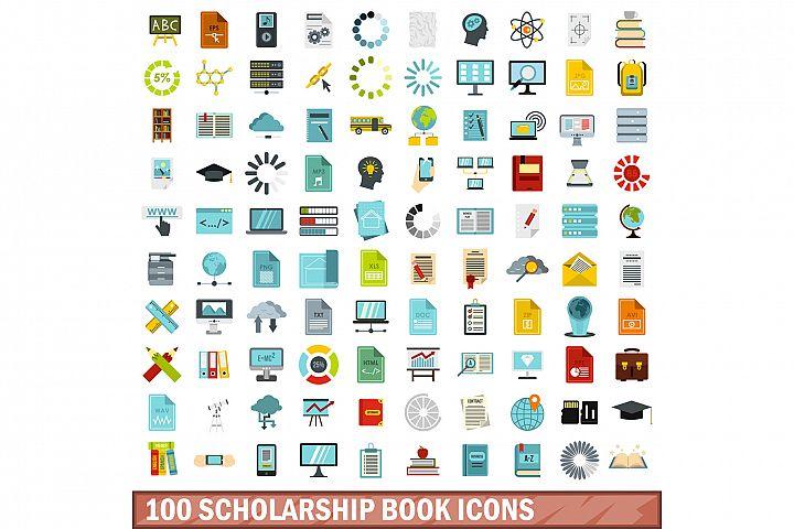 100 scholarship book icons set, flat style