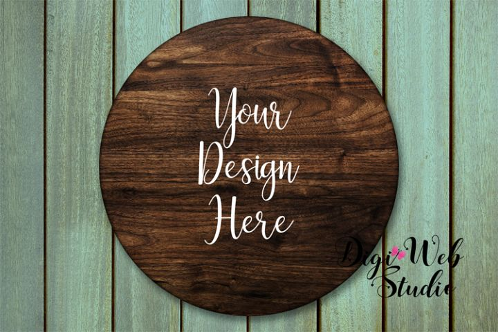 Wood Sign Mockup - Round Wood Sign on Sea Green Washed Wood