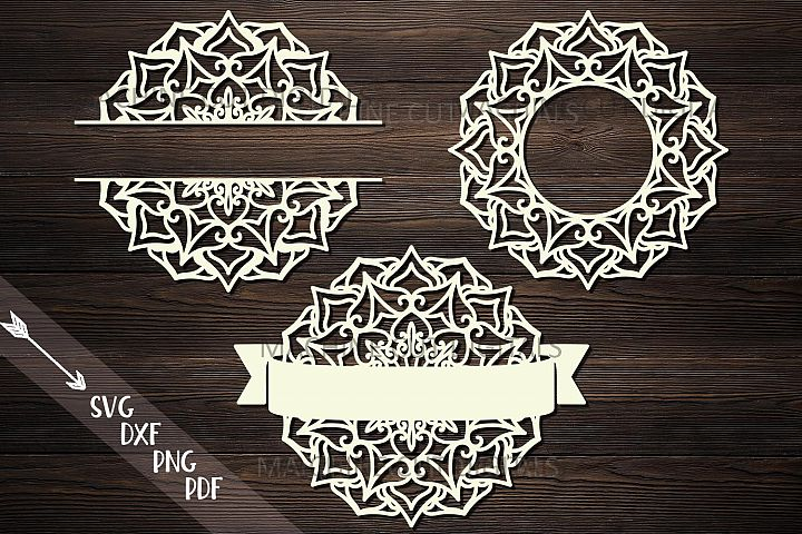 Mandala Monogram frame bundle split circle ribbon svg cut