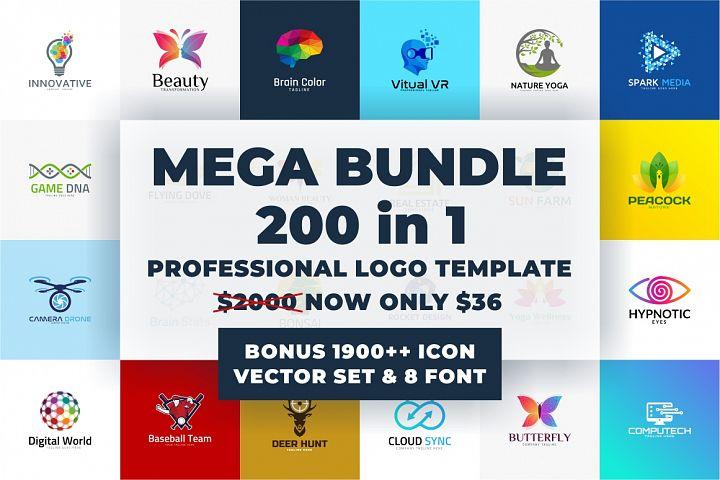 200 Premium Logo Template Bundle - Bonus 1900 Vector 8 Font