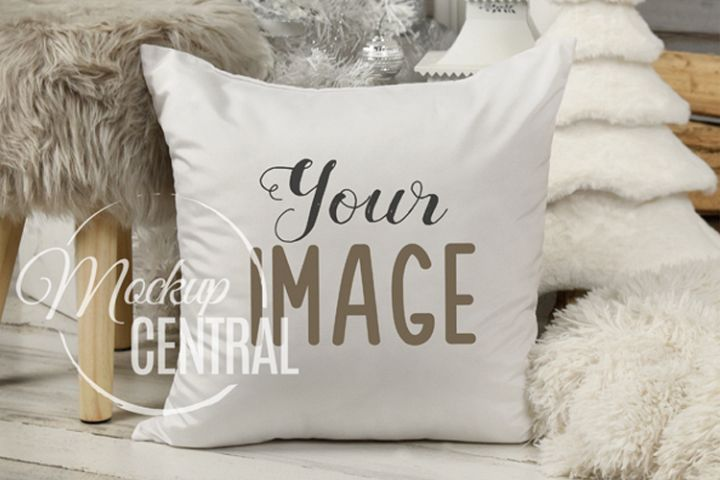 Blank White Square Mockup Christmas Pillow JPG