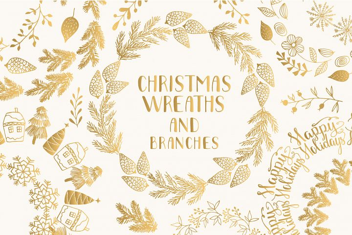 Christmas wreaths and branches