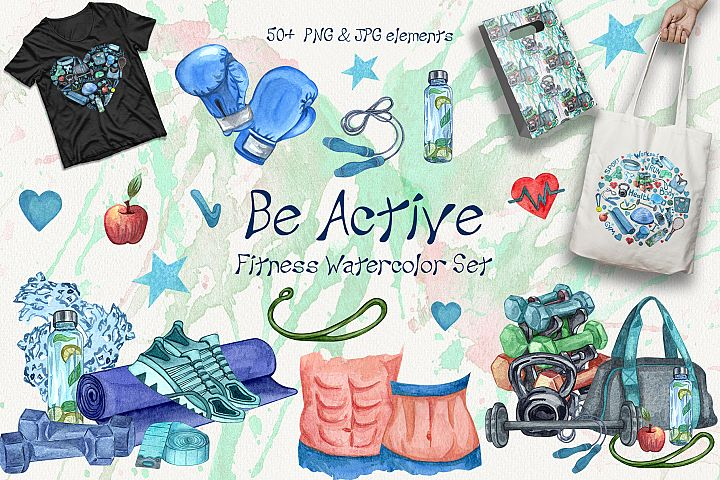 Be Active. Watercolor Fitness Set