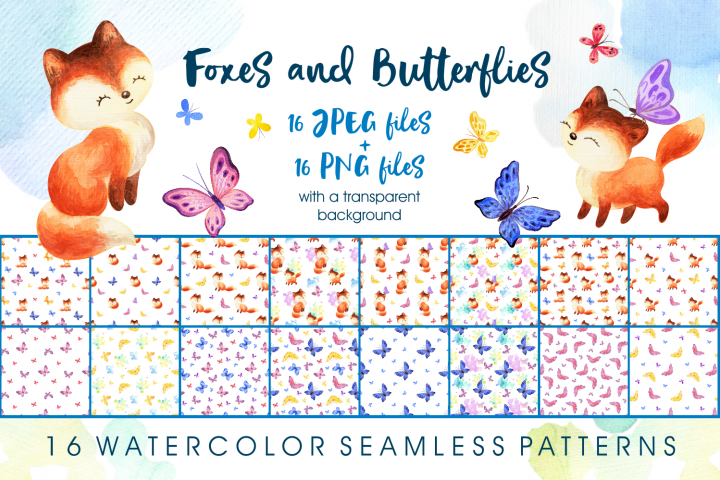 Foxes and butterflies. Watercolor seamless patterns