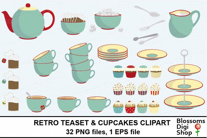 Retro Teaset & Cupcakes Clipart