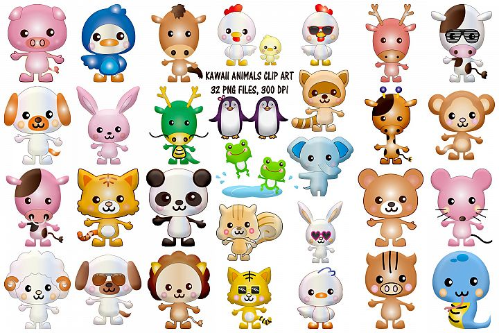 Kawaii Animals Cute Clip Art