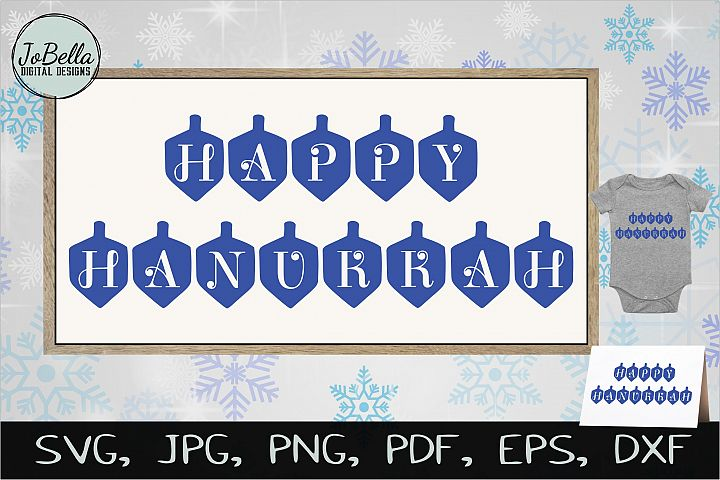 Happy Hanukkah in Dreidels SVG, Printable & Sublimation PNG