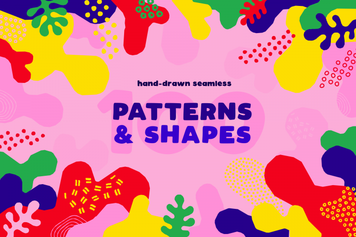 100 Hand-drawn seamless patterns and shapes collection