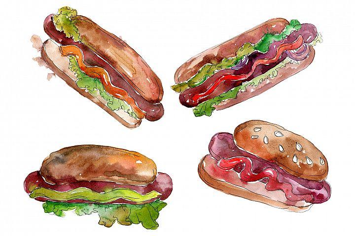 Watercolor Hot-Dog PNG