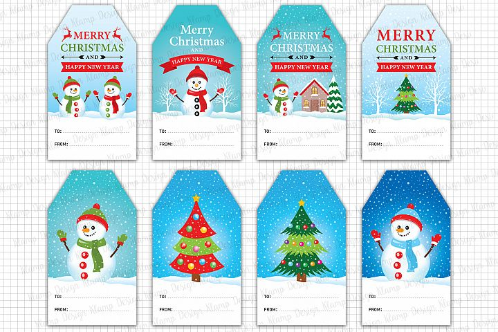 Christmas Gift Tags Printable, Christmas Graphic and Illustrations, Scrapbooking, Card Making, Labels, Christmas Decorations