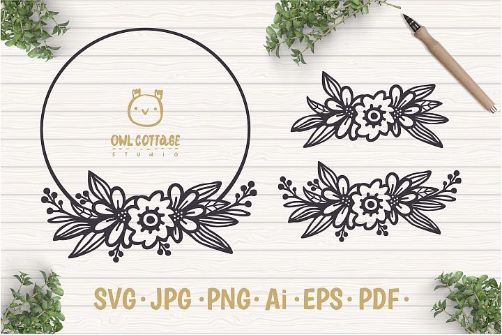 Circle Flowers Wreaths SVG, Monogram cut file, Wedding Flowe