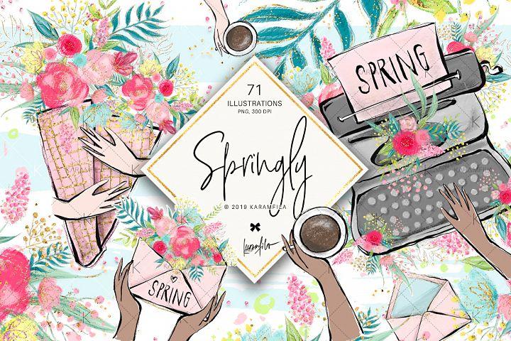 Spring Flowers Feminine Clipart