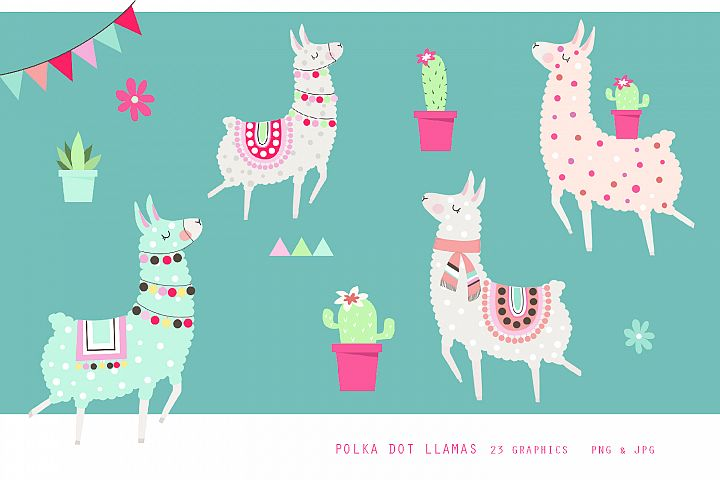 Fun Polka Dot Llama Set - clipart, jpg, png, 300 dpi, vector
