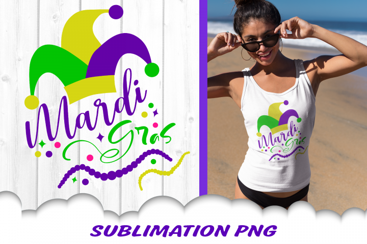 Mardi Gras Jester Hat Beads Sublimation PNG