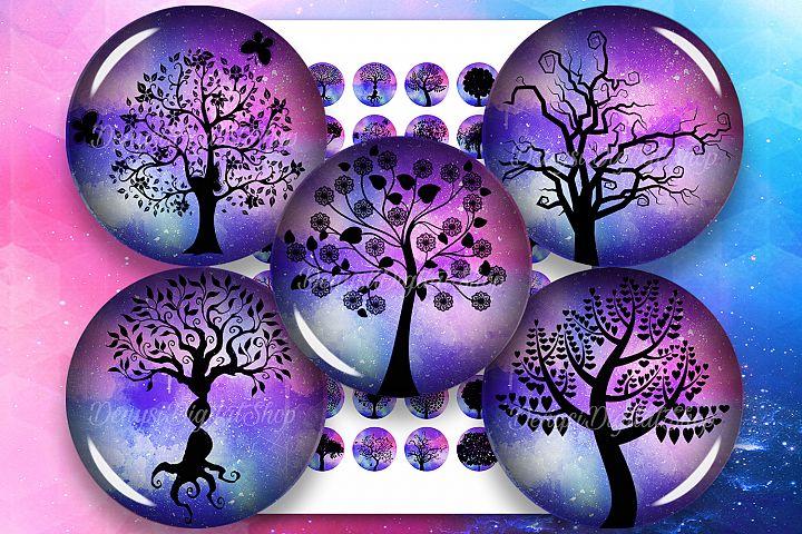 Tree Silhouettes,Tree of Life Printable Circles,Tree Round