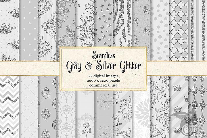 Gray and Silver Glitter Digital Paper